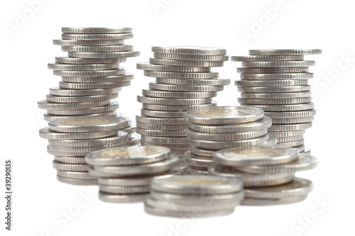 A group of coins in rolls