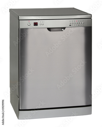 Modern freestanding dishwasher isolated on white
