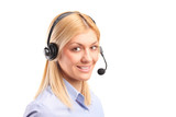 Female dispatch operator with headset, isolated