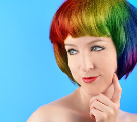 Happy Woman with Rainbow Hair Thinking