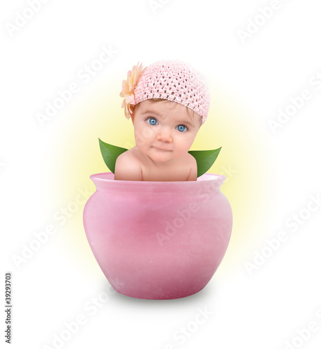 Little Cute Baby in Pink Flower Pot