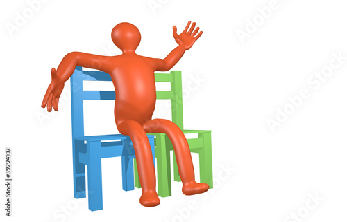 one man sitting on two chairs