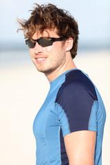 Sporty man on beach