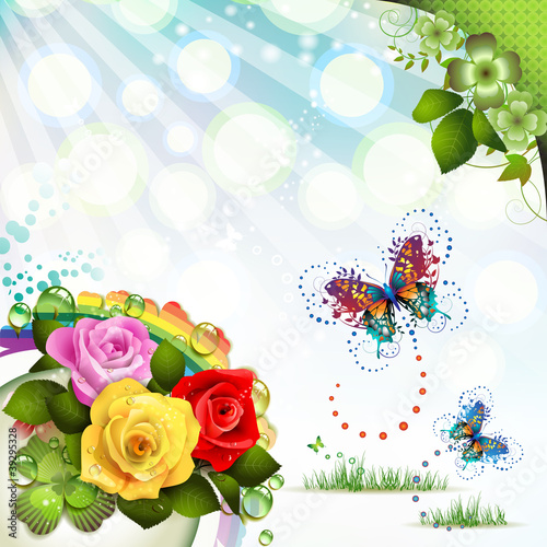 Springtime background with flowers and butterflies