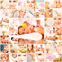 Spa massage collage background.