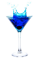 Blue Cocktail with cherry splash isolated on white