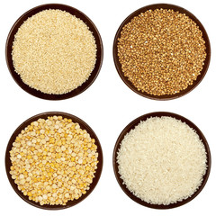 Set if grains in a brown plate