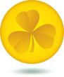 Gold Shamrock coin icon.