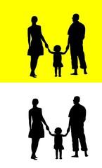 Молодая семья на белом, желтом фоне