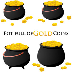Pot full of gold coins symbol isolated on white