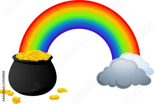Rainbow showing where is a pot full of gold coins.