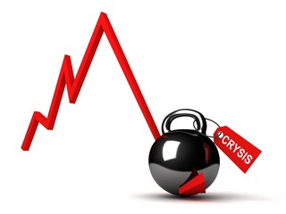 Business crisis red graph diagram with black weight