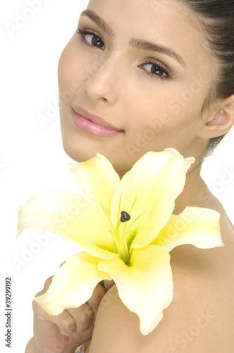 pretty woman with beautiful makeup and lily flower
