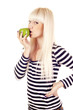 Young pretty woman kissing apple