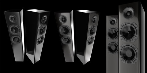 stereo speakers isolated