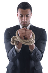 business man with rope isolated on white background