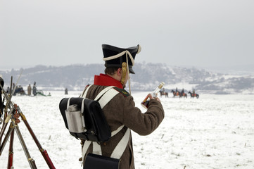 History fans in military costumes, Austerlitz, Slavkov