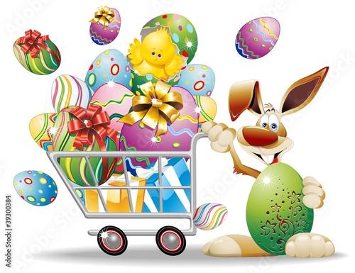 Carrello Spesa di Pasqua e Coniglio-Easter Shopping Cart