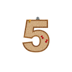 Vector set of cork board font with 3D pushpins - number 5