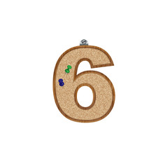 Vector set of cork board font with 3D pushpins - number 6