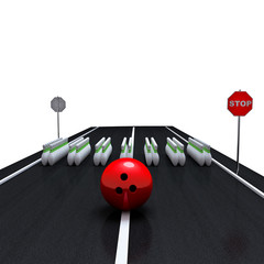 crosswalk. pins and bowling ball