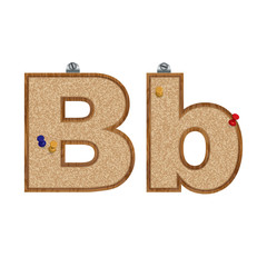 Vector set of cork board font with 3D pushpins - letter B