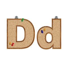 Vector set of cork board font with 3D pushpins - letter D