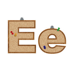 Vector set of cork board font with 3D pushpins - letter E