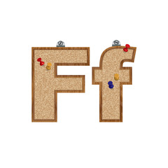 Vector set of cork board font with 3D pushpins - letter F