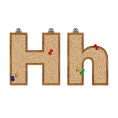 Vector set of cork board font with 3D pushpins - letter H