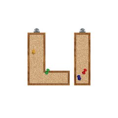 Vector set of cork board font with 3D pushpins - letter L