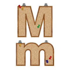 Vector set of cork board font with 3D pushpins - letter M