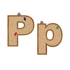 Vector set of cork board font with 3D pushpins - letter P