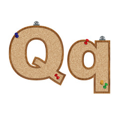 Vector set of cork board font with 3D pushpins - letter Q