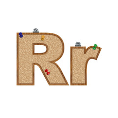 Vector set of cork board font with 3D pushpins - letter R