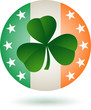 Shamrock in front of Round Ireland flag icon
