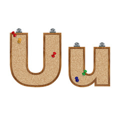 Vector set of cork board font with 3D pushpins - letter U