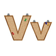 Vector set of cork board font with 3D pushpins - letter V