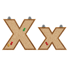 Vector set of cork board font with 3D pushpins - letter X