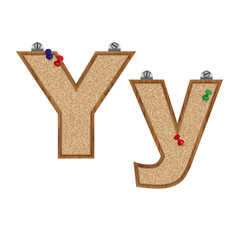 Vector set of cork board font with 3D pushpins - letter Y