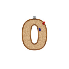 Vector set of cork board font with 3D pushpins - number 0