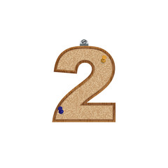 Vector set of cork board font with 3D pushpins - number 2
