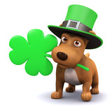 3d Cute puppy leprechaun with shamrock