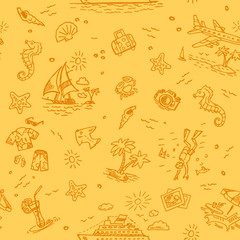Hand drawn beach vacation seamless background 2