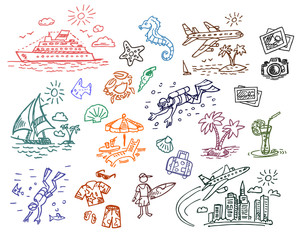 Hand drawn beach vacation illustration set