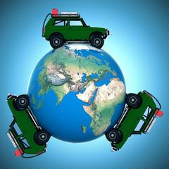 on car around the world