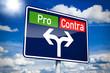 Ortseingangsschild mit Pro und Contra