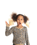 African American child with Asiatic black money euros on hair poster