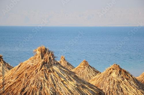straw umbrellas on beach against sea