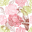 Bird and flowers seamless pattern